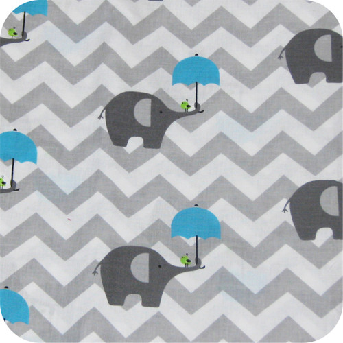 Chevron Grey & Blue Elephants 100% Cotton