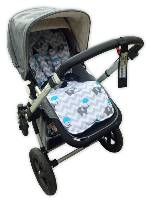 Chevron Grey & Blue Elephants Cotton Pram Liner to fit Cameleon/Fox