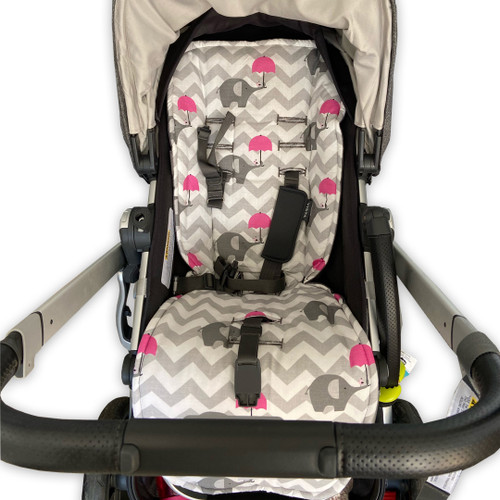 Chevron Grey & Pink Elephants Cotton Pram Liner for UPPABaby (photographed in Vista)