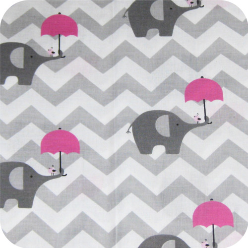 Chevron Grey & Pink Elephants 100% Cotton