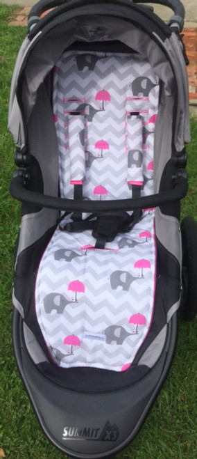 Chevron Grey & Pink Elephants Cotton Pram Liner to fit Baby Jogger Summit xc/x3