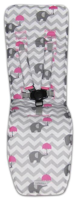 Chevron Grey & Pink Elephants Cotton Pram Liner to fit Baby Jogger City Mini GT