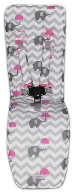 Chevron Grey & Pink Elephants Cotton Pram Liner to fit Baby Jogger