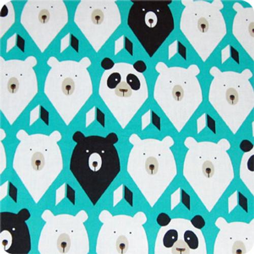 Geo Bears Teal 100% cotton