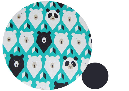 Geo Bears Teal Cotton Pram Liner to fit Phil & Teds