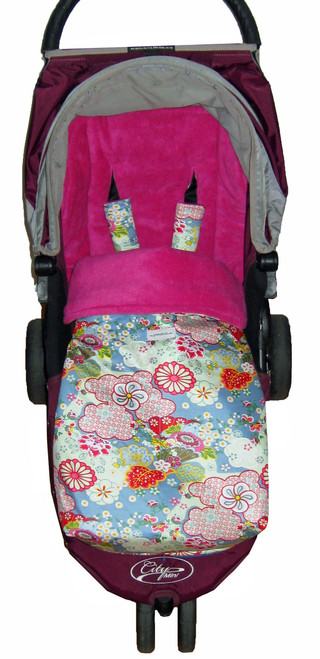 Kimono Blossom Blue Universal Fit Snuggle Bag photographed in Baby Jogger City Mini