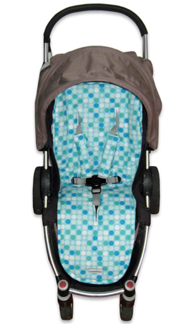 Universal fit Retro Dots Aqua pram liner set photographed in Agile.