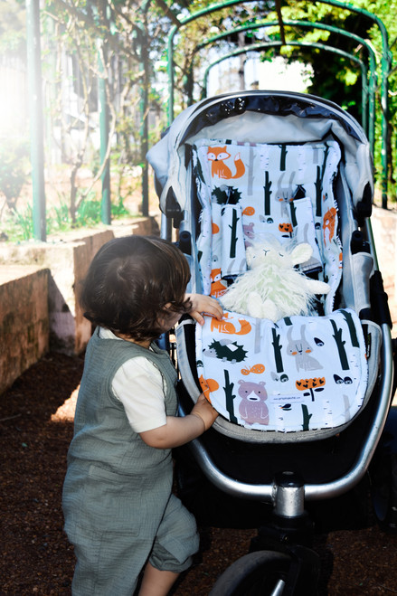Forest Animals universal fit cotton pram liner