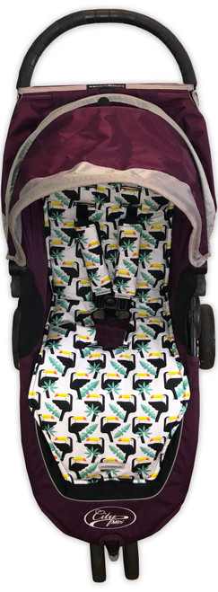 Toucans Pram Liner Set in Baby Jogger City Mini (harness strap covers optional)