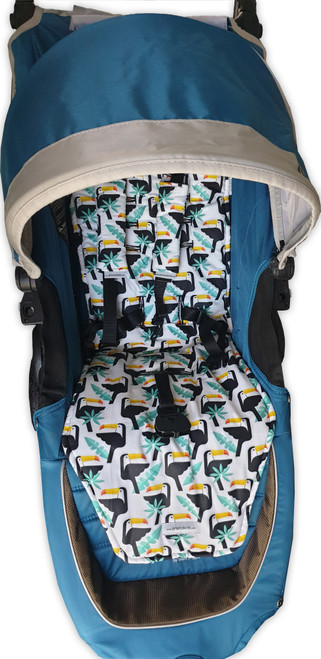 Toucans Cotton Pram Liner to fit Baby Jogger City Mini GT (harness strap covers optional)
