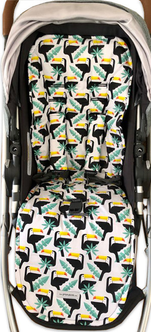 Toucans cotton pram liner set to fit Uppababy (harness strap covers optional)