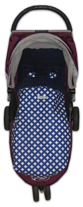 Crosses Navy & White Snuggle bag for Baby Jogger