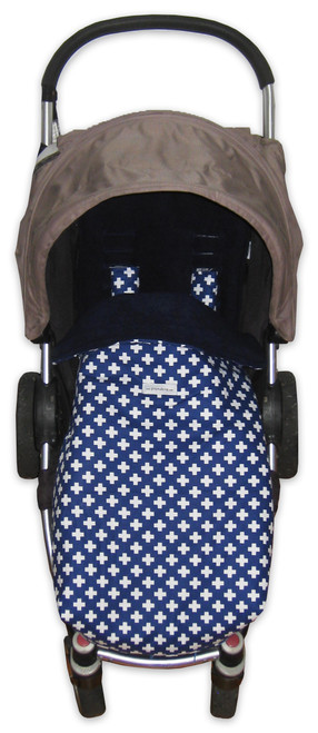 Crosses Navy Snuggle Bag consists of a pram liner to fit Agile/Agile Plus + detachable footmuff