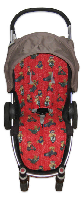 Teddy Bear Adventures Red universal fit cotton pram liner set in Steelcraft Agile (harness strap covers optional)