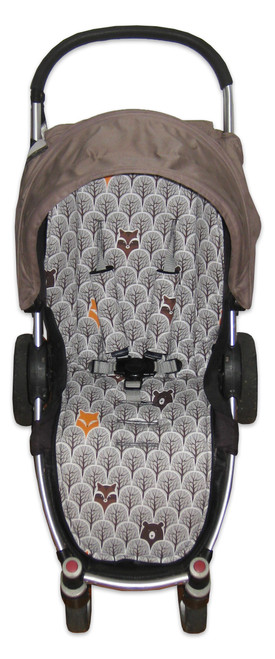 Peekaboo Grey cotton pram liner set photographed in Steelcraft Agile