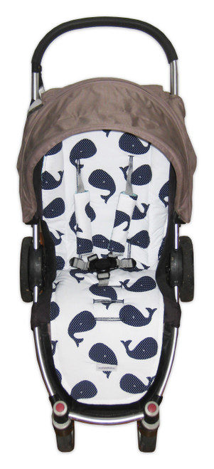 Whales Navy universal fit pram liner set in Steelcraft Agile