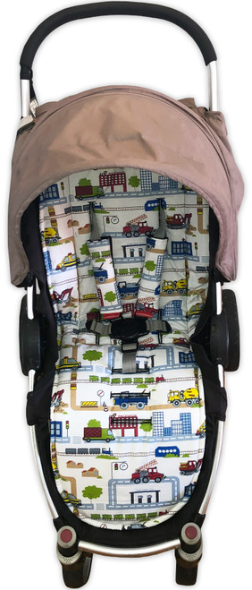 """""""On the Road"""" Cotton pram liner set in Steelcraft Agile (harness strap covers optional)"""