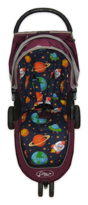 Little Space cotton universal fit pram liner set photographed in Baby Jogger City Mini