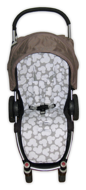 Mickey Grey universal fit cotton pram liner set photographed in Agile