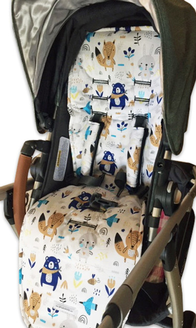 Scandi Woodland cotton pram liner to fit Uppababy