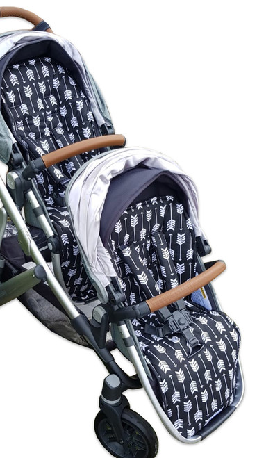 Arrows Black & White cotton pram liner for main and rumble seat in Uppababy Vista