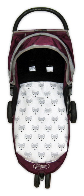 Fox Grey Snuggle Bag Footmuff photographed in Baby Jogger City Mini