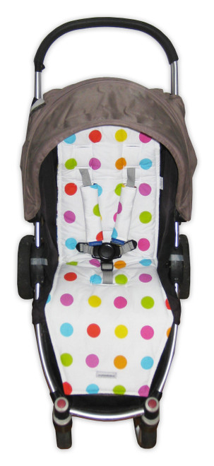 Polka Dot Multi cotton pram liner set (harness strap covers optional)