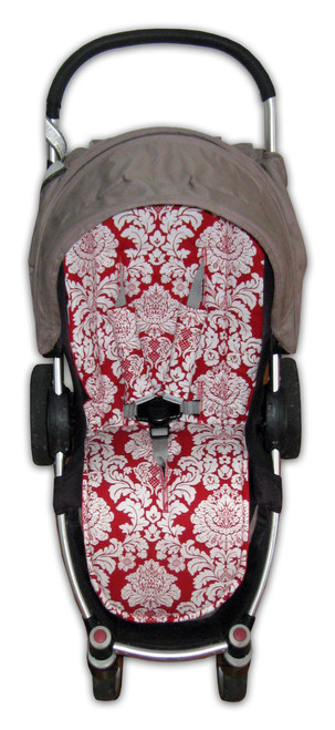 Delovely Damask Michael Miller print universal pram liner in Steelcraft Agile (harness strap covers optional)