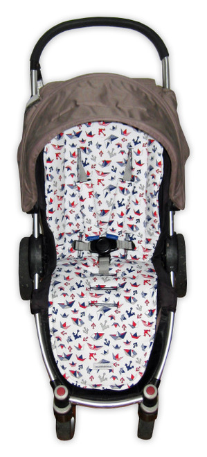 Nautical universal fit cotton pram liner set photographed in Steelcraft Agile (harness strap covers optional)