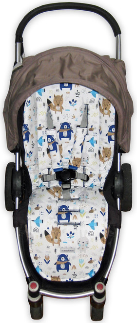 Scandi Woodland universal fit pram liner set photographed in Steelcraft Agile (harness strap covers optional)