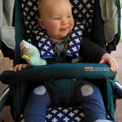 Crosses Navy & White cotton pram liner set to fit Baby Jogger