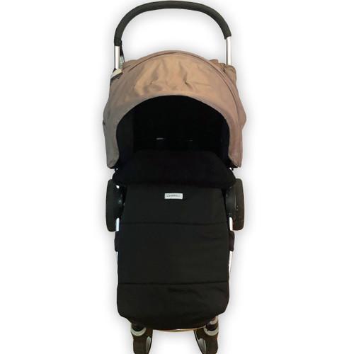 Jet Black universal fit snuggle bag with waterproof footmuff