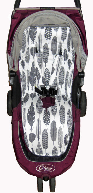 Feathers Grey Cotton Universal Fit Pram Liner