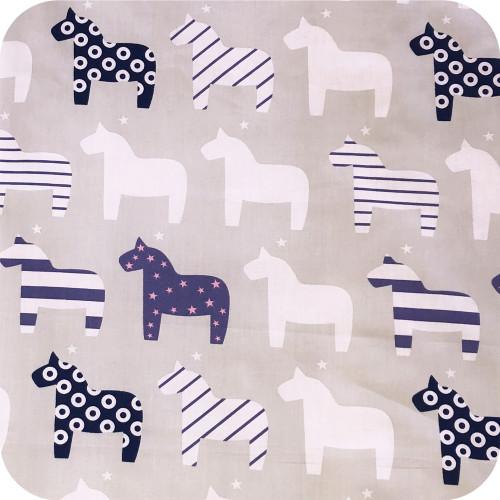 Nordic Horses Beige 100% cotton