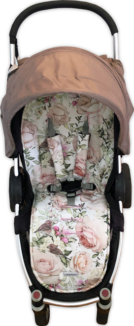 English Rose cotton unviversal pram liner set photographed in Steelcraft Agile