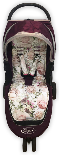 English Rose Cotton Pram Liner to fit Baby Jogger photographed in City Mini
