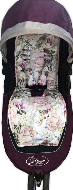 English Rose Cotton Pram Liner to fit Baby Jogger - back in stock!