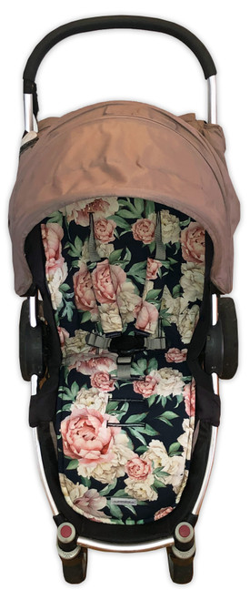 Peonies Black cotton pram liner set in Steelcraft Agile (harness strap covers optional)