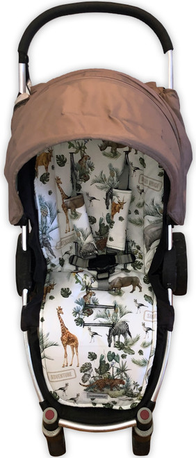 Safari Adventure cotton pram liner set (strap covers optional)
