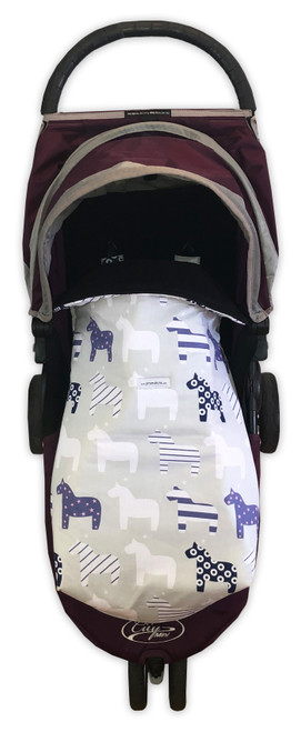Nordic Horses Beige Snuggle Bag photographed in Baby Jogger City Mini