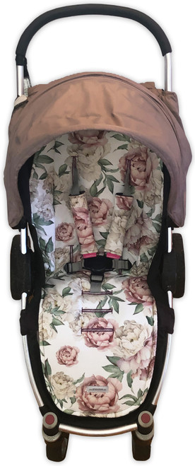 Peonies Universal Fit Cotton Pram Liner set (harness strap covers optional)