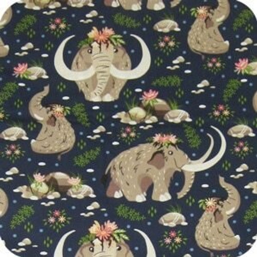 Baby Mammoth cotton print reversing to navy polarfleece