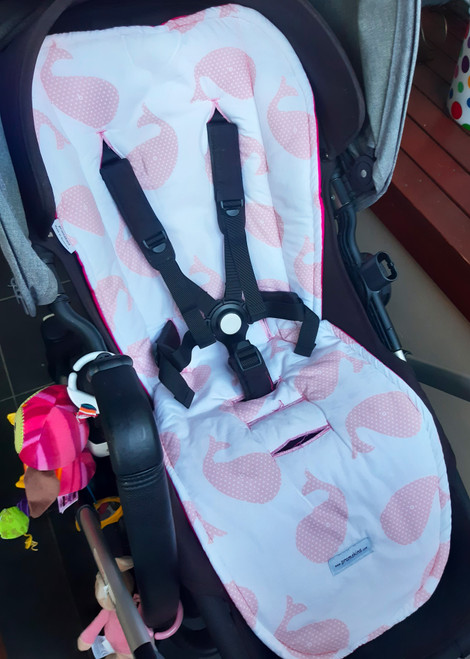 Whales Pink Cotton Pram Liner  photographed in Bugaboo Buffalo