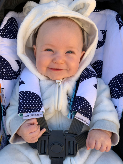 Whales Navy Cotton Pram Liner to fit Bugaboo Donkey/Buffalo (harness strap covers optional)