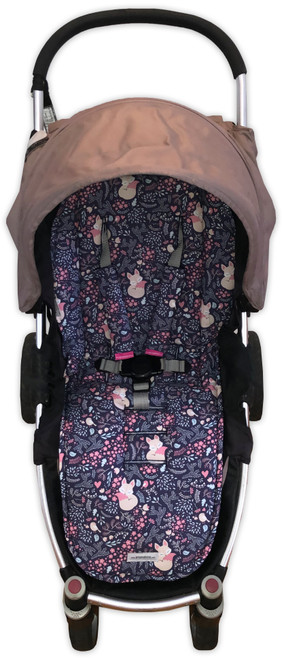 Foxes and Birds Navy Universal Fit Cotton Pram Liner