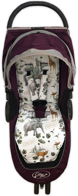 Safari Adventure Cotton Pram Liner to fit Baby Jogger (photographed in City Mini)