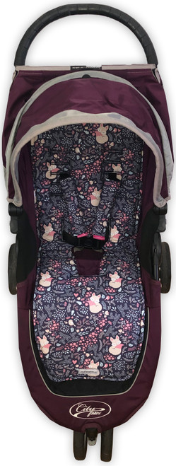 Foxes and Birds Navy Cotton Pram Liner to fit Baby Jogger (photographed in City Mini)