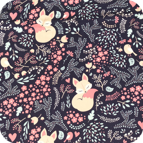 Foxes and Birds Navy 100% cotton