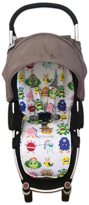 Little Monsters Universal Fit Cotton Pram Liner (harness strap covers optional)