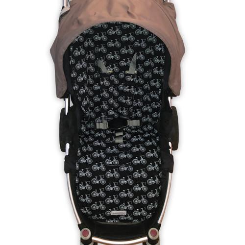 Black Retro Bikes Universal Fit Cotton Pram Liner